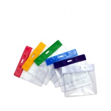 Clear Vinyl Landscape ID Card Holder with Coloured Top