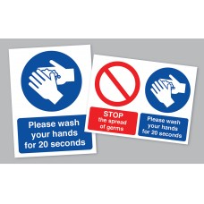 Wash Your Hands Sticker – 150 x 200mm – Pack of 10